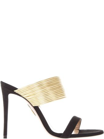 Aquazzura Black And Gold Suede Sandals