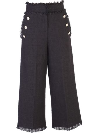 MSGM Black Cropped Trousers