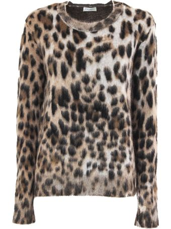 Saint Laurent Sweater In Leopard Jacquard Mohair.