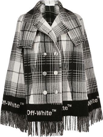 Off White Fringed Check Print Coat