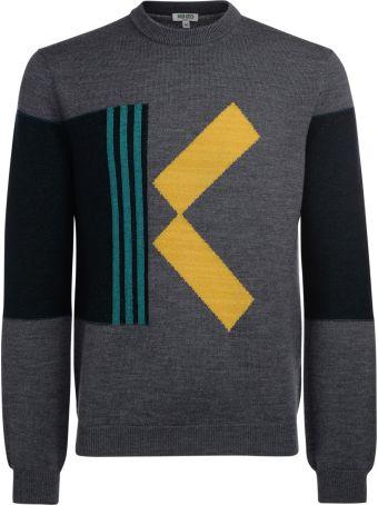 Kenzo Grey Wool K Contrasting Jumper