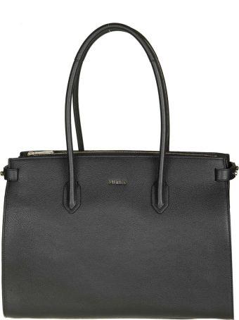 "Furla ""pin M"" Shopping In Black Leather"
