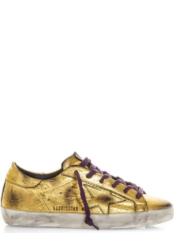 Golden Goose Gold Superstar Sneaker In Leather