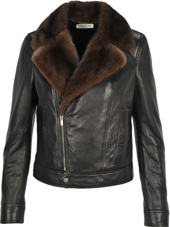 Saint Laurent Paris Perfecto Biker Leather Neck Mink