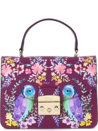 Furla Metropolis M Purple Leather Handbag With Birds And Flowers.