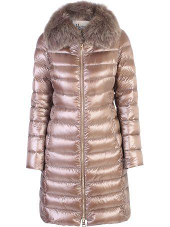 Herno Brown Fur Detail Padded Jacket