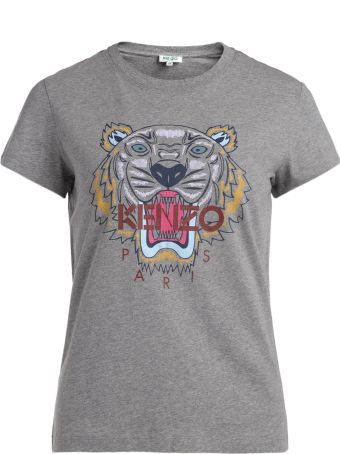 Kenzo Tiger Grey T-shirt With Multicolor Print
