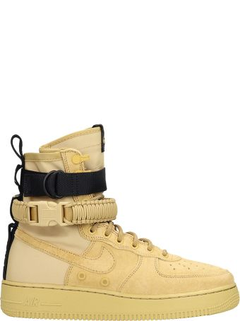 Nike Sf Air Force 1 Beige Suede And Fabric High Sneakers