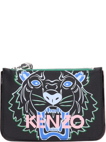 Kenzo Black Grained Leather Clutch Bag