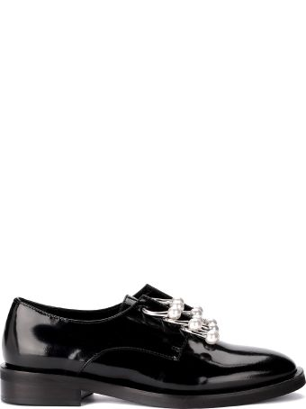 Coliac Derby Coliac Black Leather Shoes With Pearls