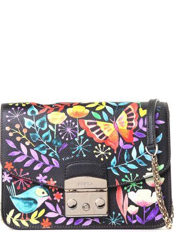 Furla Garden-print Pebbled-leather Shoulder Bag