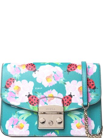 Furla Ladybug-print Pebbled-leather Shoulder Bag