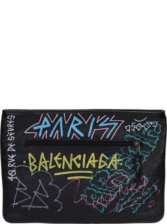 Balenciaga Black Leather Explore Graffiti Clutch Bag