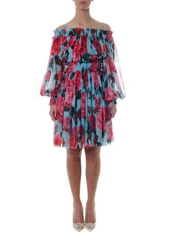 Dolce & Gabbana Roses Printed Silk Dress