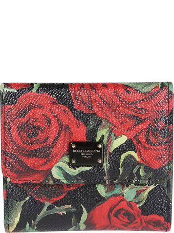 Dolce & Gabbana Rose Print French Wallet