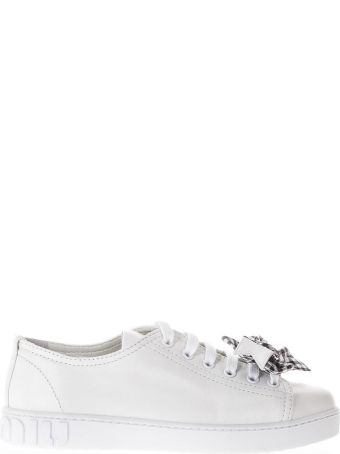 Miu Miu White Leather Sneakers With Bow