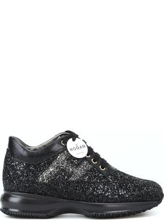 Hogan Interactive Black Coarse Glitter Sneakers