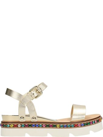 Casadei Metal Gold Leather Sandals