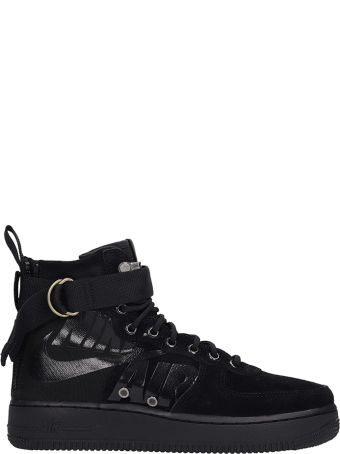 Nike Sf Air Force 1 Black Suede And Fabric High Sneakers