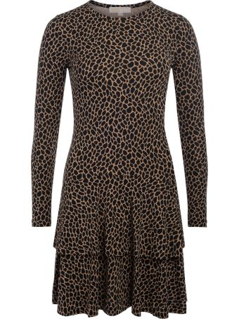 Michael Kors Black And Brown Spotted Dress With Flounces