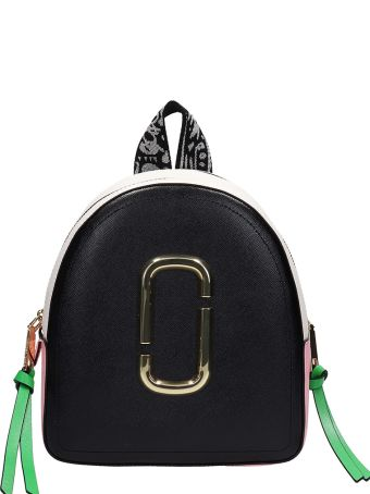 Marc Jacobs Backpack In Black-pink Leather