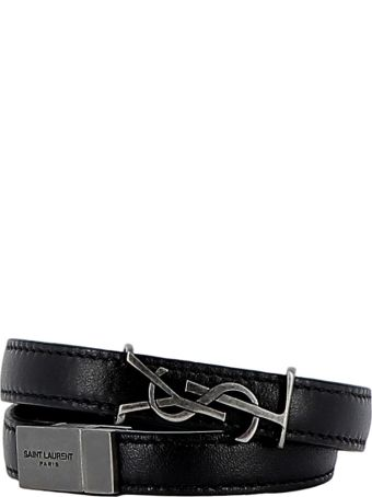 Saint Laurent Black Leather Bracelets