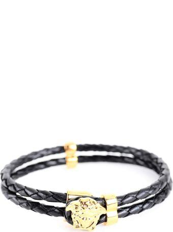Versace  Medusa Bracelet In Woven Leather