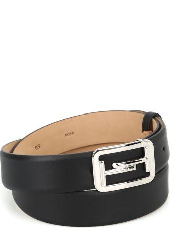 Tod's Double T Buckle Matte Leather Belt
