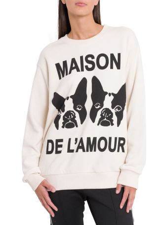 Gucci Heavy Felted Cotton Jersey With Maison De L'amor Print And Patch Detail Crew Neck Sweatshirt