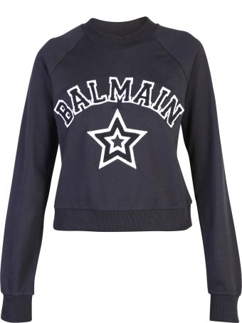 Balmain Black Patched Sweatshirt