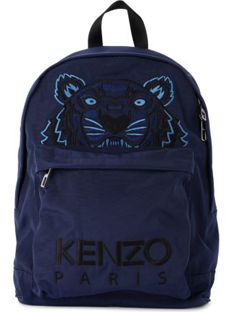 Kenzo Blue Fabric Backpack With Tiger