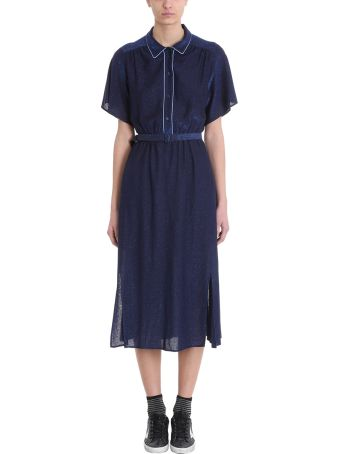 Golden Goose Vanilla Blue Lurex Belted  Midi Dress