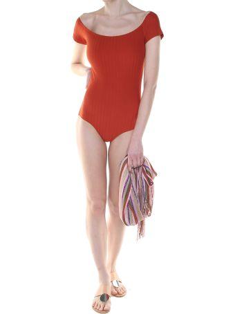 Mimì a la mer Helo Fishbone Off-the-shoulder Swimsuit