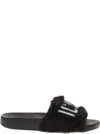 Dsquared2 Black Leather Slippers