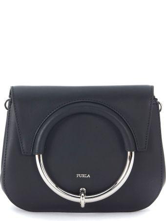 Furla Margherita Mini Black Leather Shoulder Bag With Ring.