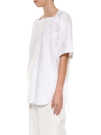 Cedric Charlier White Short Sleeves Top From Cédric Charlier