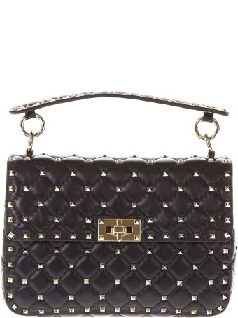 Valentino Garavani Black Spike Medium Quilted Leather Bag