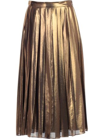 MICHAEL Michael Kors Skirt Midi Gold W/folds