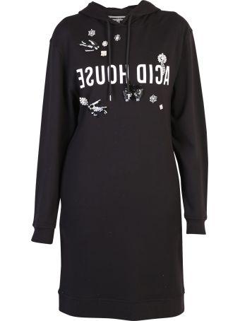 McQ Alexander McQueen Black Shiny Detailed Dress