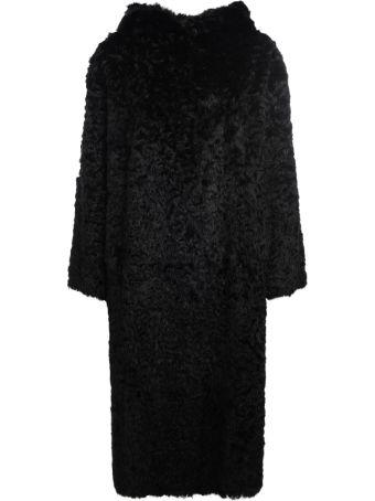 Salvatore Santoro Black Lapin Long Coat With Hood