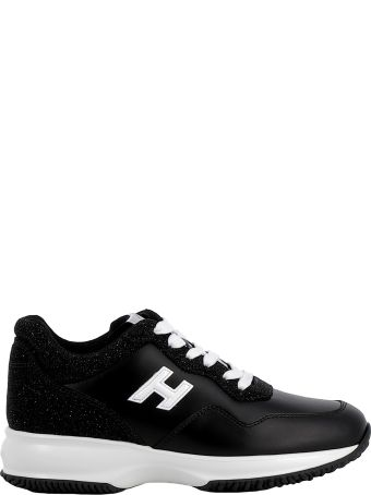 Hogan Black Leather/glitter Sneakers