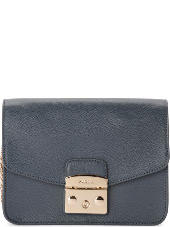 Furla Metropolis Grey Ardesia Leather Shoulder Bag