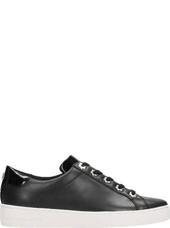 Michael Kors Irving Lace Up Black Leather Sneakers