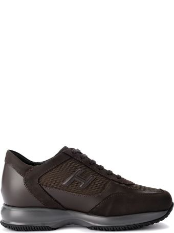 Hogan Interactive Ebony Leather And Fabric Sneaker