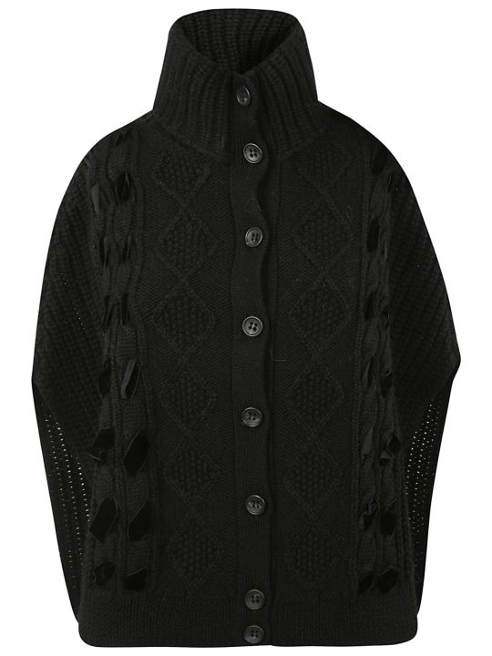 RED Valentino Lace-up Cable Knit Cardigan