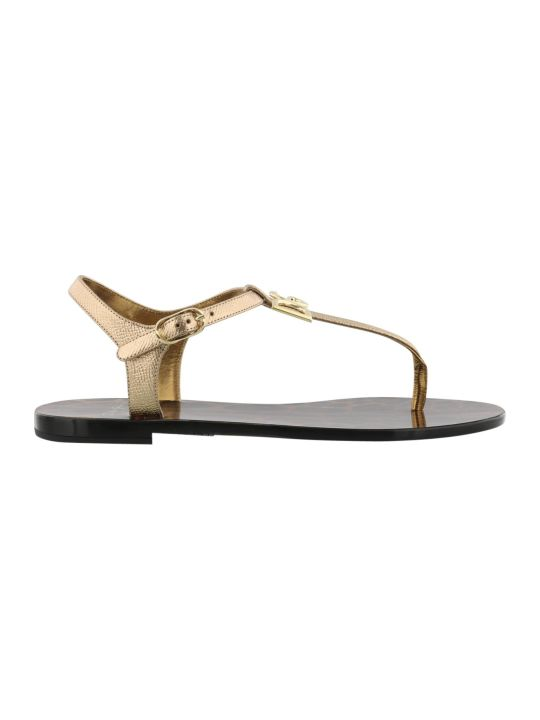 Dolce & Gabbana Logo Paint Leather Thong Sandal