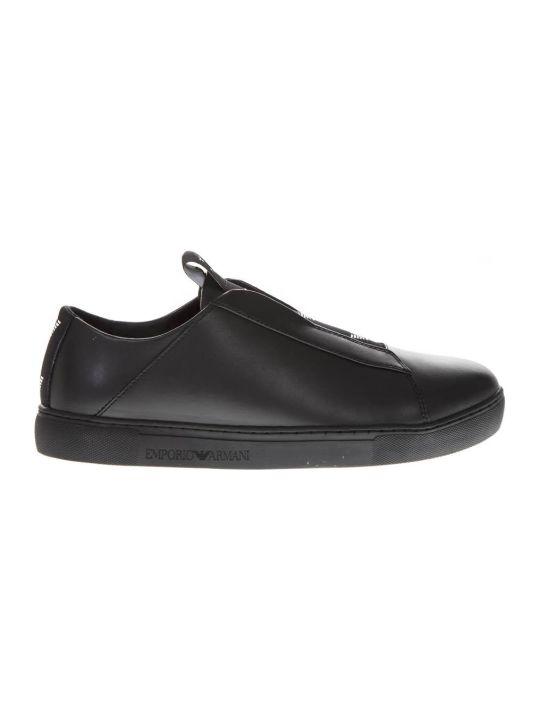 Emporio Armani Black Leather Slip-on Sneakers