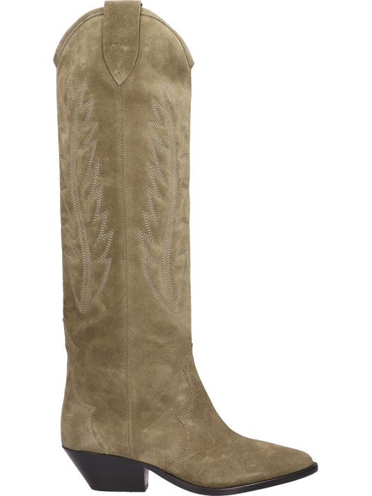 Isabel Marant Denzy Taupe Suede High Boots