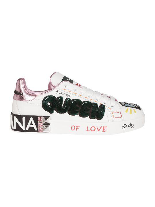 Dolce & Gabbana Queen Patch Applique Sneakers