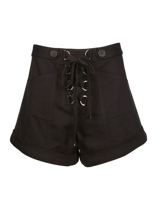 self-portrait Lace Up Wide Leg Shorts